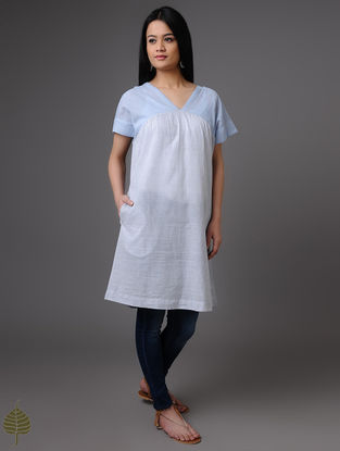 Blue-White Handloom Khadi Tunic by Jaypore
