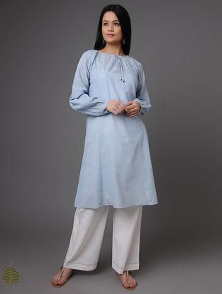 Blue-Ivory Handloom Khadi Tunic by Jaypore