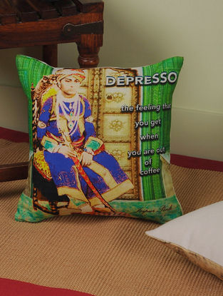 Coffee with Rajasthan Digitally-Printed Cushion Cover 12in x 12in