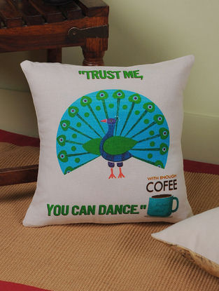 Coffee with Rajasthan Digitally-Printed Cushion Cover 12in x 12.5in