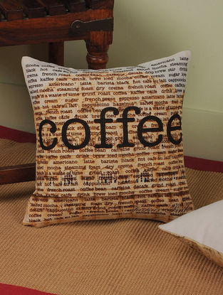 Coffee with Rajasthan Digitally-Printed Cushion Cover 12in x 11.5in