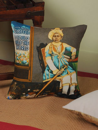 Coffee with Rajasthan Digitally-Printed Cushion Cover 12.5in x 12in