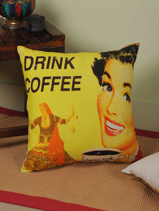 Coffee with Rajasthan Digitally-Printed Cushion Cover 15.5in x 15.5in