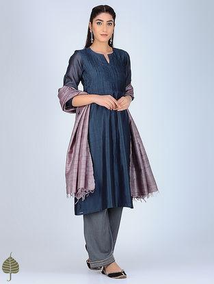 Blue Pintuck Chanderi Kurta by Jaypore