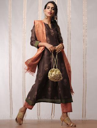 Brown-Green Block-printed Chanderi Kurta by Jaypore