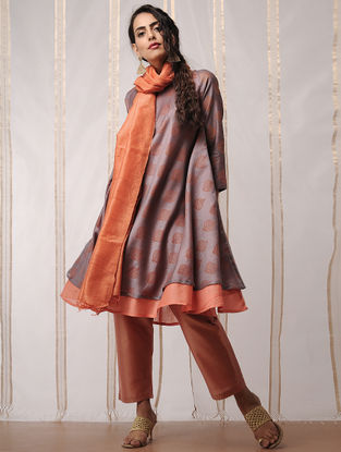Grey-Orange Block-printed Chanderi Kurta by Jaypore