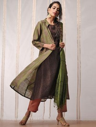 Green-Brown Block-printed Chanderi Kurta with Jacket by Jaypore (Set of 2)
