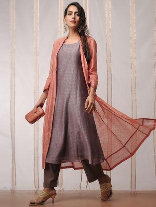 Orange-Grey Block-printed Chanderi Kurta with Jacket by Jaypore (Set of 2)