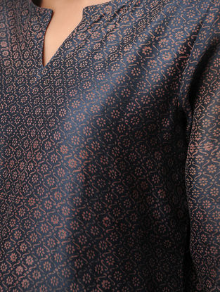 Blue Block-printed Chanderi Kurta by Jaypore