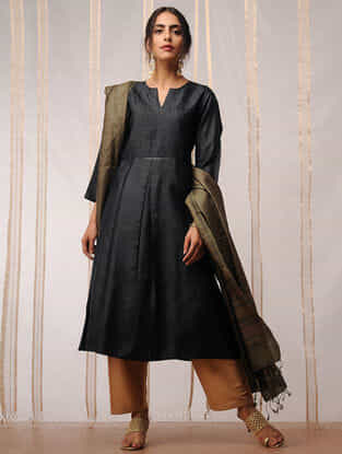 Black Pleated Tussar Kurta by Jaypore