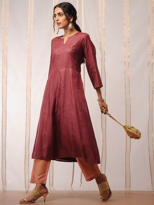 Maroon Pleated Tussar Kurta by Jaypore