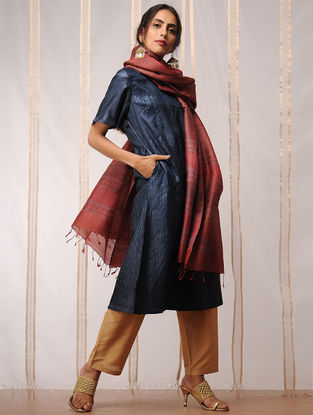 Indigo Pleated Tussar Kurta by Jaypore