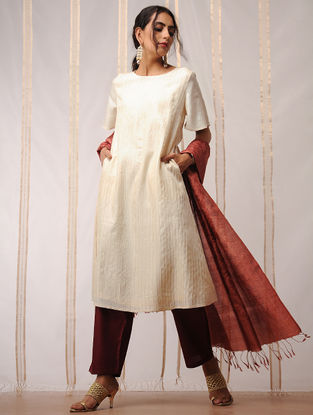 Ivory Pleated Tussar Kurta by Jaypore