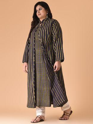 Indigo-Mustard Block-printed Cotton Dress with Jacket (Set of 2)