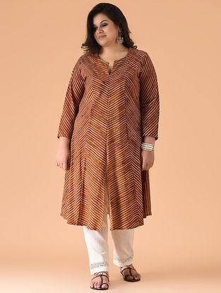Maroon-Orange Block-printed Cotton Kurta by Jaypore