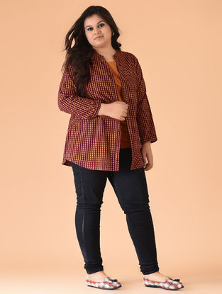 Maroon-Orange Black-printed Cotton Top with Jacket (Set of 2)