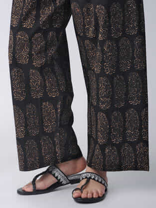 Black Elasticated-waist Block-printed Cotton Palazzos by Jaypore