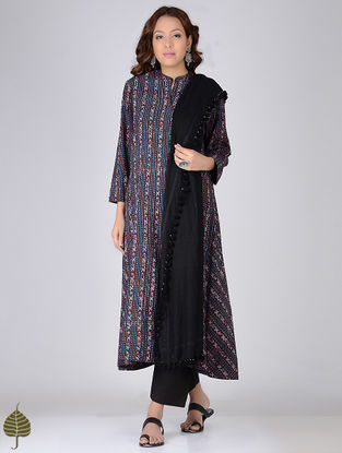 Indigo-Madder Ajrakh-printed Cotton Kurta by Jaypore
