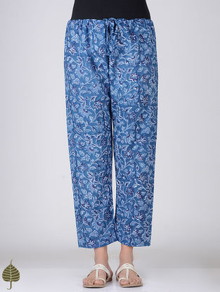 Blue-White Block-printed Tie-up Waist Cotton Pants by Jaypore