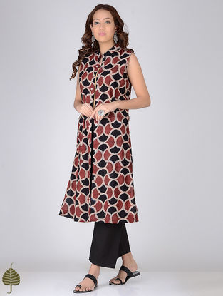 Black-Madder Ajrakh-printed Cotton Jacket by Jaypore