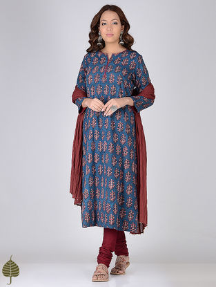Blue-Madder Ajrakh-printed Cotton Kurta by Jaypore