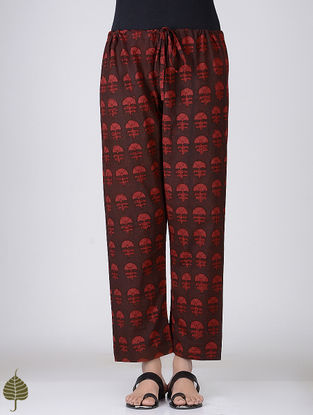 Madder Ajrakh-printed Tie-up Waist Cotton Pants by Jaypore