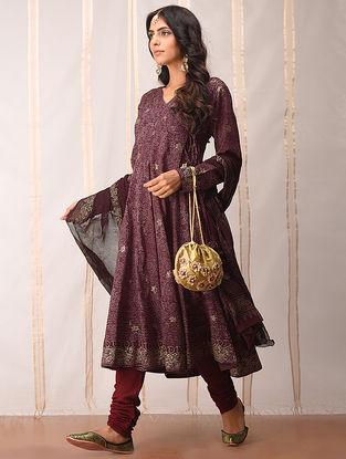 Madder-Gold khari-printed Cotton Angrakha by Jaypore