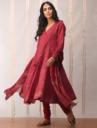 Red-Gold khari-printed Cotton Angrakha by Jaypore