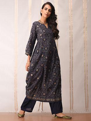 Indigo-Gold Khari-printed Cotton Kurta by Jaypore