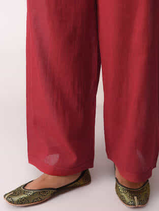 Red Tie-Up Waist Cotton Pants by Jaypore