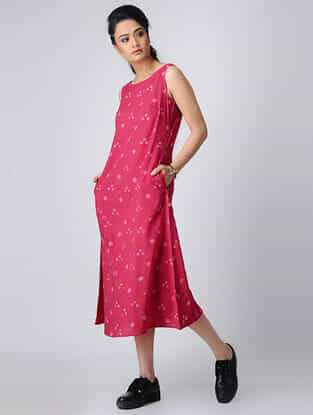 Pink Bandhani Cotton Dress with Pockets