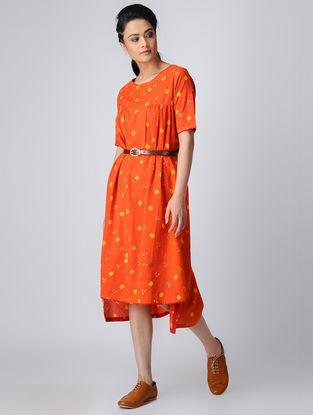 Orange-Yellow Bandhani Cotton Dress