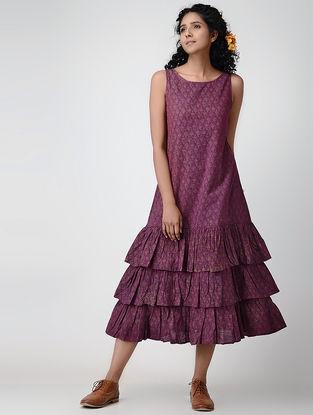 Purple Printed Mangalgiri Cotton Dress with Gathers