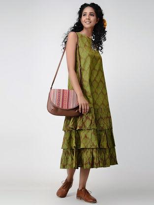 Green Printed Mangalgiri Cotton Dress with Gathers