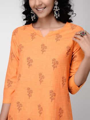 Orange Printed Mangalgiri Cotton Kurta