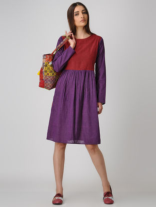 Purple-Maroon Cotton Dress with Gathers