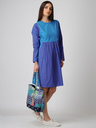 Blue Cotton Dress with Gathers