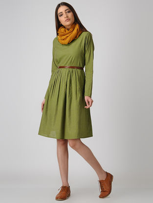 Green Cotton Dress with Gathers