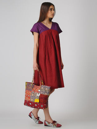 Maroon-Purple Cotton Dress with Gathers