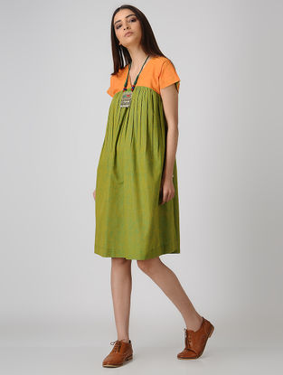 Green-Yellow Cotton Dress with Gathers