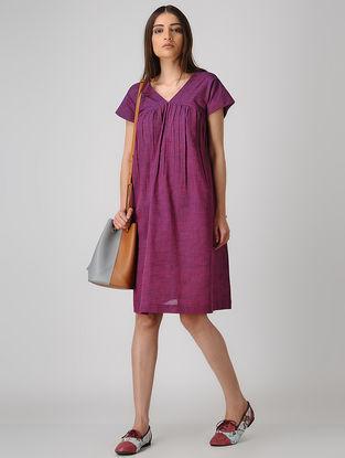Purple Cotton Dress with Gathers