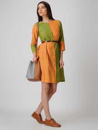 Yellow-Green Front-open Cotton Dress with Pleats