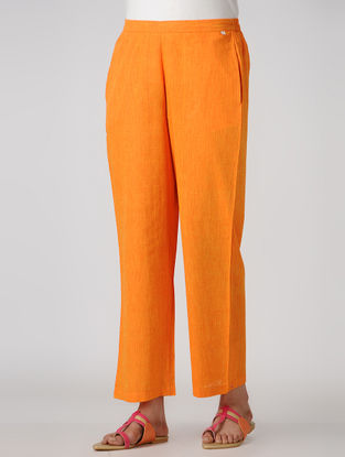 Yellow Elasticated-waist Cotton Pants with Pockets