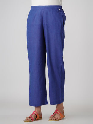 Blue Elasticated-waist Cotton Pants with Pockets