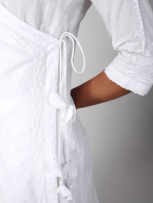 White Chikankari Embroidered Cotton Angrakha with Tassels