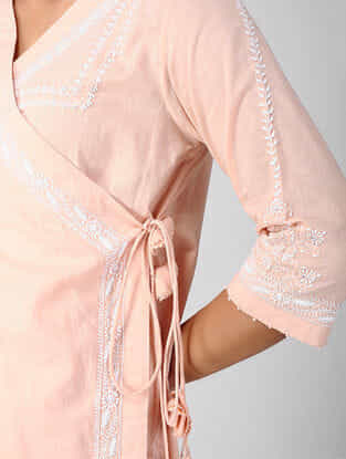 Peach Chikankari Embroidered Cotton Angrakha with Tassels