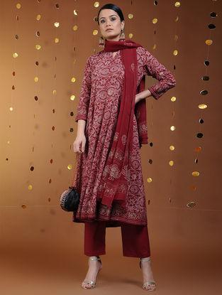 Red-Gold Khari-printed Cotton Kalidar Kurta