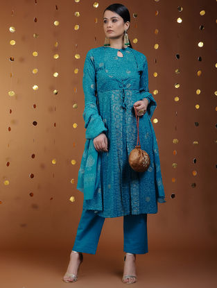 Blue-Gold Khari-printed Cotton Kalidar Kurta