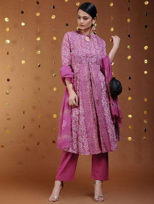 Pink-Gold Khari-printed Cotton Kurta
