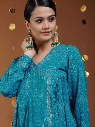 Blue-Gold Khari-printed Cotton Angrakha